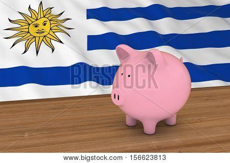 Uruguay Finance Concept - Piggybank In Front Of Uruguayan Flag 3D Illustration
