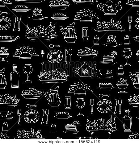 Vector seamless pattern with hand drawn symbols of breakfast lunch or dinner on black color. Pattern on the theme of food. Background for use in design, packing, web site, fabric