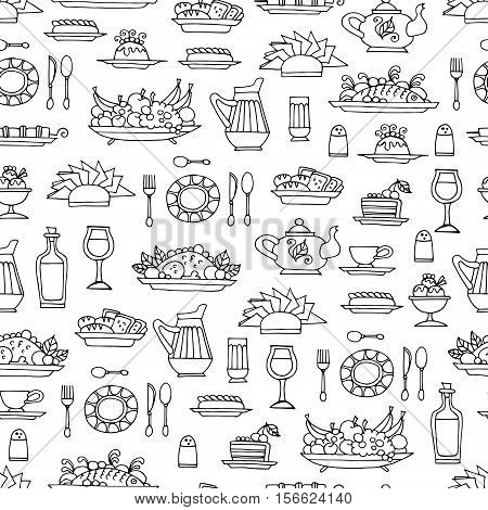 Vector seamless pattern with hand drawn symbols of breakfast lunch or dinner on white color. Pattern on the theme of food. Background for use in design, packing, web site, fabric