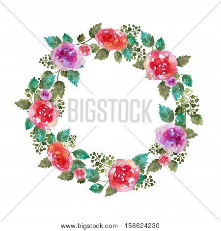 Vintage floral wreath wedding frame with rose flowers and leaf. Greeting card. Hand-drawn watercolor elements.Decoration illustration . Pink, red. green on white background. Famale