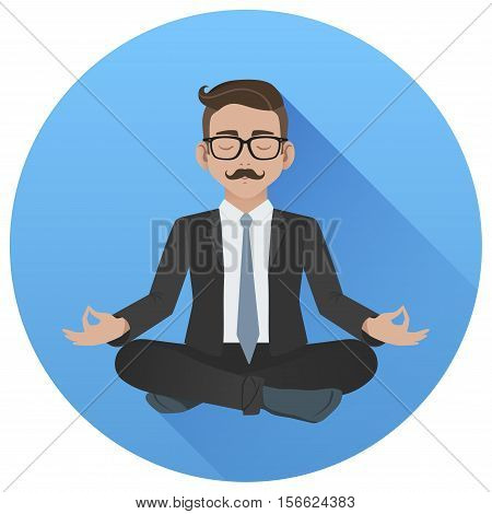 Flat Vector Icon Of Man Doing Office Yoga. Calm And Relax In The Middle Of A Work Day. Businessman M