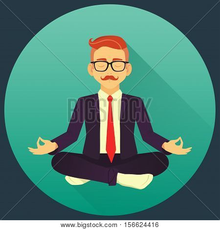 Flat Vector Icon Of Redhead Man With Red Tie Doing Office Yoga. Calm And Relax In The Middle Of A Wo