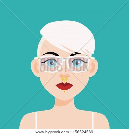 Flat Vector Illustration Of A Girl With Blue Eyes, Freckles And White Hair. Red Lips, Thick Black Ey