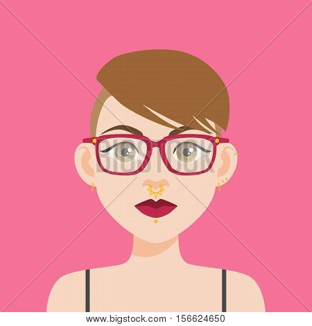 Flat Vector Illustration Of A Girl With Brown Eyes And Brown Hair. Red Lips, Thick Eyebrows, Pink Hi