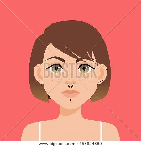 Flat Vector Illustration Of A Girl With Brown Eyes, Freckles And Brown Ombre Hair. Full Lips, Thick