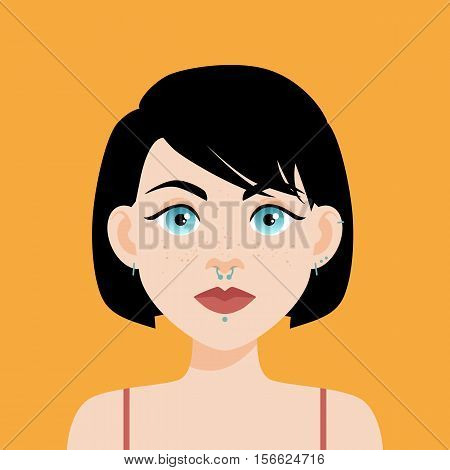 Flat Vector Illustration Of A Girl With Blue Eyes, Freckles And Black Hair. Red Lips, Thick Black Ey