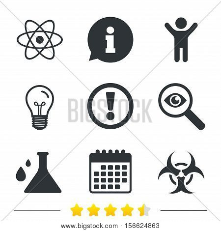 Attention and biohazard icons. Chemistry flask sign. Atom symbol. Information, light bulb and calendar icons. Investigate magnifier. Vector
