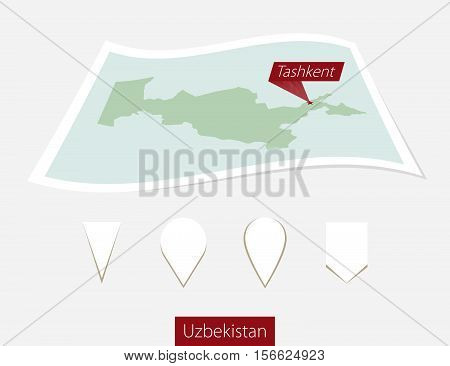 Curved Paper Map Of Uzbekistan With Capital Tashkent On Gray Background. Four Different Map Pin Set.