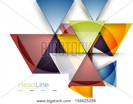 Colorful triangles on white background. Modern geometric banner template with copyspace