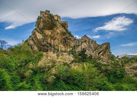 Beautiful view of Roccascalegna castle in Abruzzo