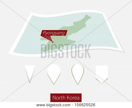 Curved Paper Map Of North Korea With Capital Pyongyang On Gray Background. Four Different Map Pin Se