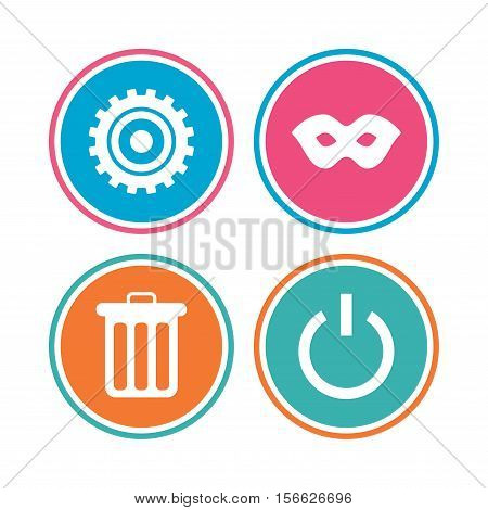 Anonymous mask and cogwheel gear icons. Recycle bin delete and power sign symbols. Colored circle buttons. Vector