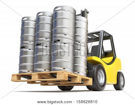 Metal beer kegs with the pallet on the forklift - 3D illustration
