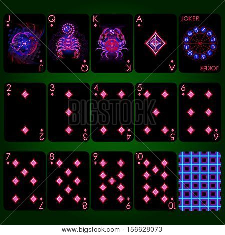 Playing cards, diamond suit, joker and back. Background black card