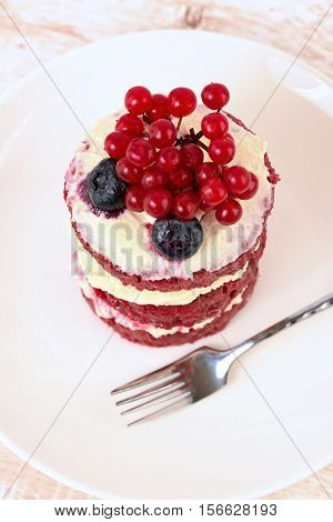 Cake with berries. Cake sweet dessert. red cake