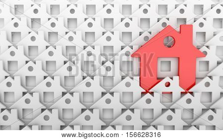 Abstract many homes and one red home.3d illustration
