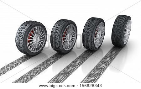 Four car wheel and trace. 3d illustration