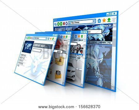 Abstract web site on white background. 3d illustration