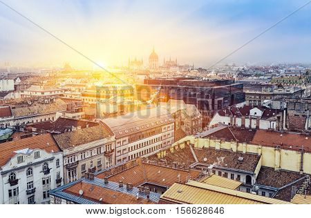 Sunrise Over Budapesl, Aerial View,  Hungary