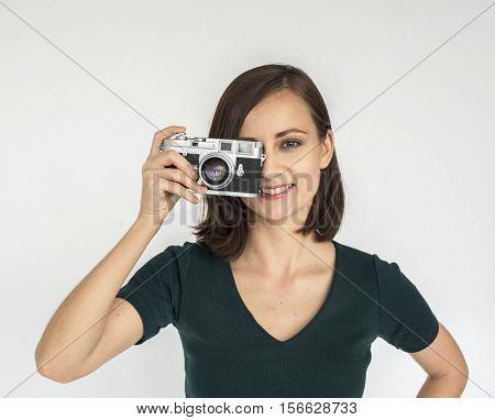 Woman Lady Casual Studio Model Natural Portrait Concept