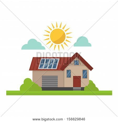 Vector sun solar energy icon. Sun solar energy symbols electricity technology house renewable ecology. Industrial clean electrical sun solar energy alternative panel modern innovation generator.