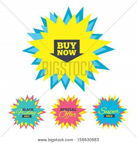 Sale stickers and banners. Buy now sign icon. Online buying arrow button. Star labels. Vector