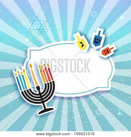 Colorful Origami Happy Hanukkah Greeting card on blue background with frame for text. Jewish holiday with menorah - traditional Candelabra, candles and dreidels - spinning top. Vector illustration