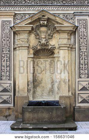 Renaissance fountain in Schwarzenberg Palace of Prague, Czech Republic