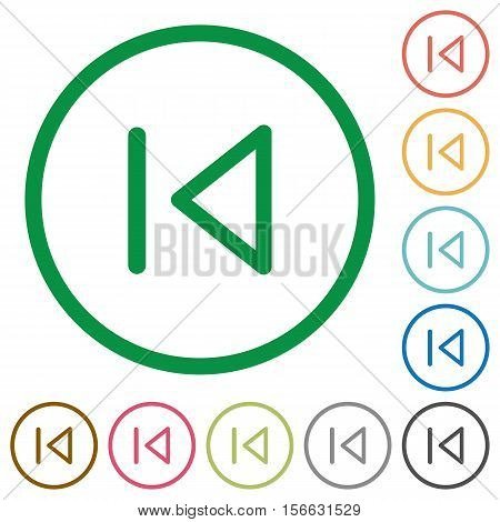 Media prev flat color icons in round outlines