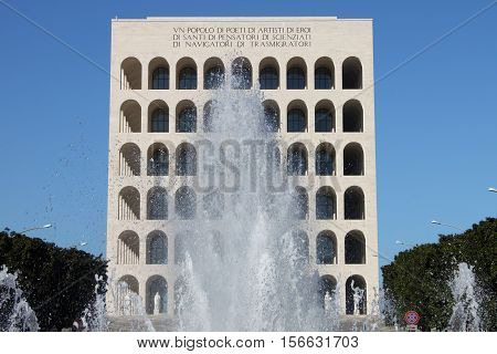 The Squared Colosseum building in Rome, Italy