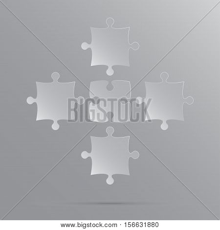 5 Grey Puzzles Pieces Arranged in a Square - JigSaw - Vector Illustration. Blank Template or Cutting Guidelines. Vector Elements and Background.