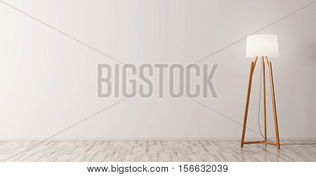 Interior Background With Floor Lamp 3D Rendering