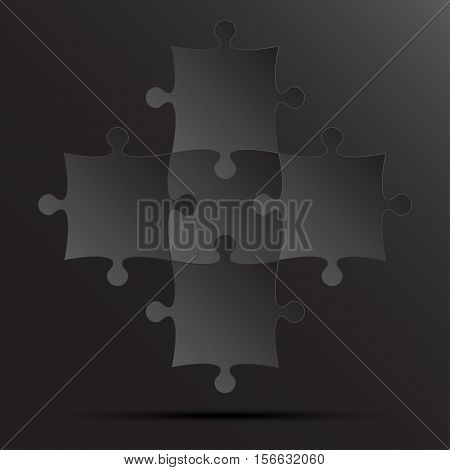 5 Black Puzzles Pieces Arranged in a Square - JigSaw - Vector Illustration. Blank Template or Cutting Guidelines. Vector Elements and Background.