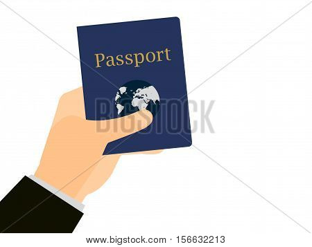 Hand holding a passport on isolated white background. The document for the trip emigration abroad. Vector illustration.