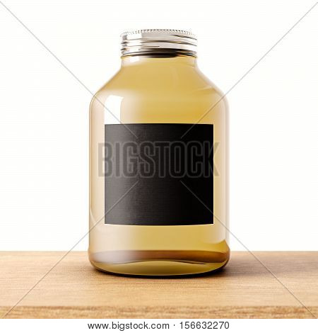 One empty jar of transparent glass with closed metal cap on the wood desk.White wall at background.Clean glassy container and black mockup label.Style drinks, food storage.3d rendering
