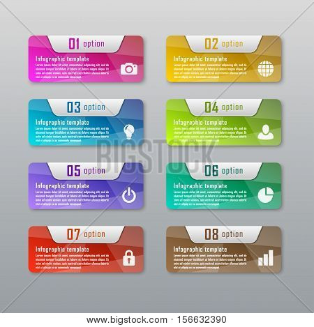 Infographic ( diagram, chart ) business concept with 8 options, parts, steps. Infographic design template and marketing icons