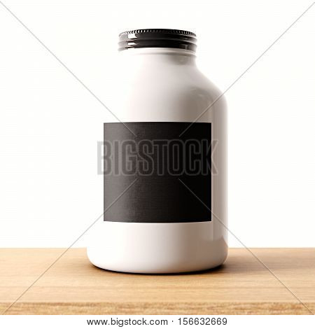 Closeup of one blank not transparent white glass jar on the wood desk and clear wall background.Empty glassy container , black mockup label in center.Drinks, food storage concept.3d rendering