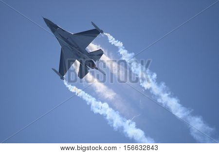ROME - JUNE 28: A F-16 of the Netherland Air Force performs at the Rome International Air Show on June 28 2014 in Rome Italy