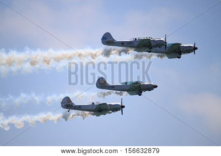 ROME - JUNE 28: The acrobatic team Yak Italia perform at the Rome International Air Show on June 28 2014 in Rome Italy