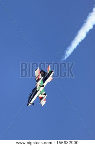 ROME - JUNE 28: A MB-339 of the italian acrobatic team Frecce Tricolori performs at the Rome International Air Show on June 28 2014 in Rome Italy
