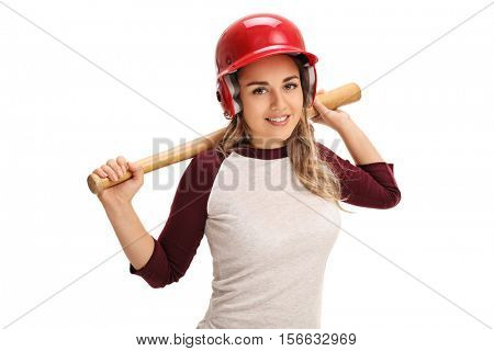 Happy young woman with a baseball bat and a helmet isolated on white background