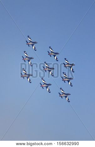 ROME - JUNE 28: The italian acrobatic team Frecce Tricolori perform at the Rome International Air Show on June 28 2014 in Rome Italy