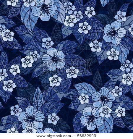 Indigo floral seamless pattern with hibiscus flowers, vector illustration.