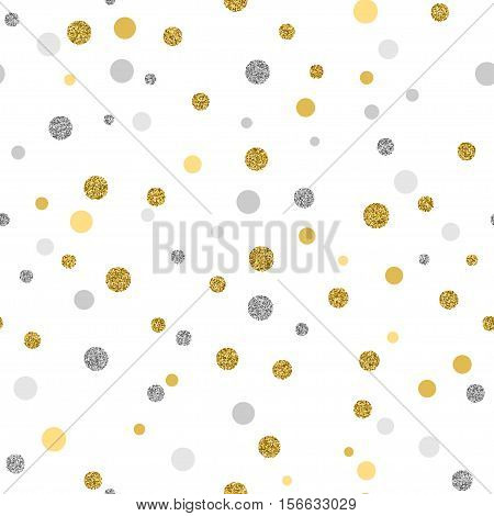 Cristmas seamless background with glitter gold and silver dots on white background