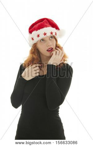 Christmas woman with hat of Santa Claus isolated over white background