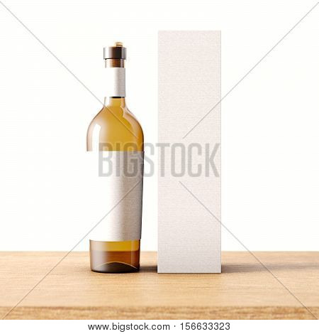 Closeup one transparent glass bottle of wine on the wooden desk, gray wall background.Empty glassy container concept with white mockup label and carton paper bag for bottles.3d rendering.Front view.