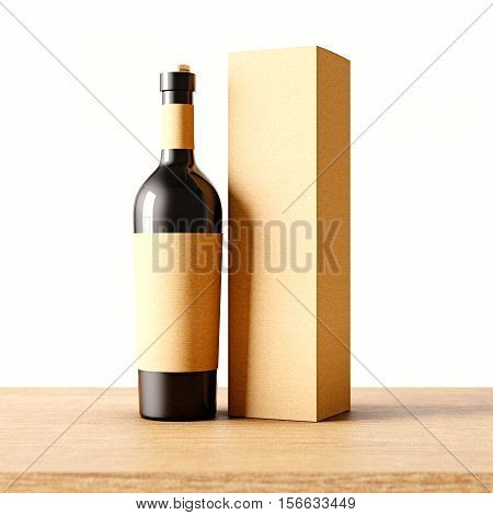 Closeup one not transparent gray glass bottle of wine on the wooden desk, white wall background.Empty glassy container concept with craft mockup label and carton paper bag for bottles.3d rendering
