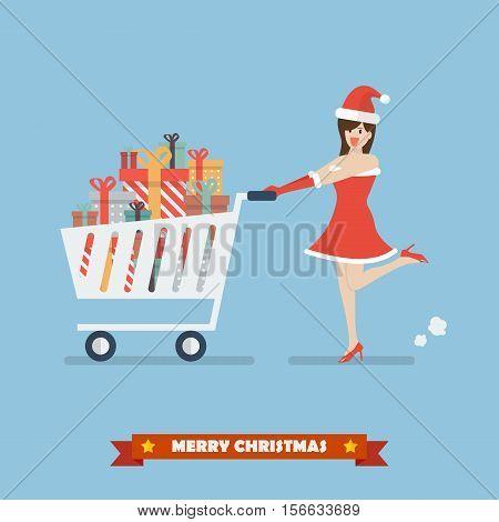 Santa woman push a shopping cart with piles of presents. Vector illustration