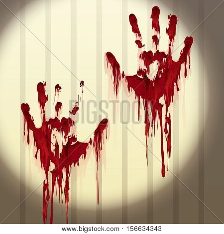 Bloody hand prints on a wall lit by flashlight. Vector illustration