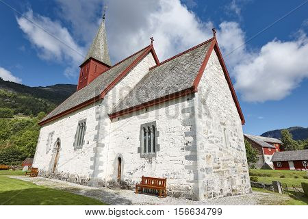 Traditional antique norwegian stone church. Luster. Travel Norway. Heritage